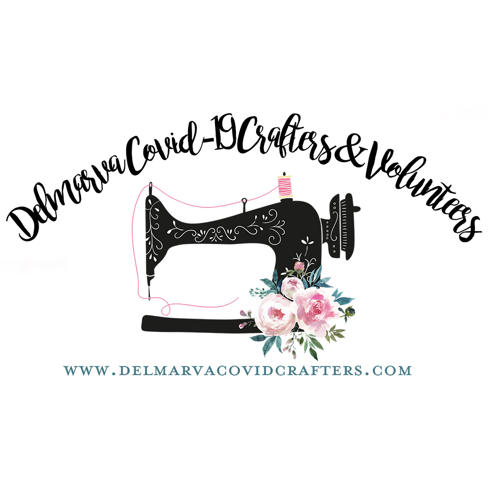 "This is the logo for Delmarva COVID-19 Crafters. There's text that reads, ""Delmarva COVID-19 Crafters & Volunteers."" At the bottom it says, ""www.delmarvacovidcrafters.com""  The image for the logo is an antique sewing machine with flowers decorating it."
