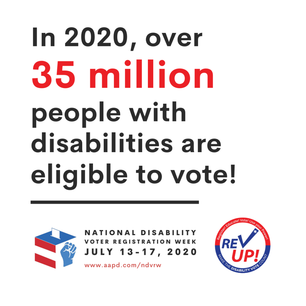 "White square graphic with black text saying ""In 2020, over 35 million people with disabilities are eligible to vote!"" The ""35 million"" is emphasized in larger, red text. Below the text, and separated from the text by a black horizontal line, are the white, blue, and red logos for the National Disability Voter Registration Week on the left and REV UP on the right."